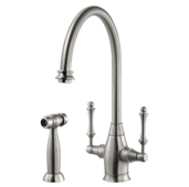 Charleston Traditional Two Handle Kitchen Faucet with Sidespray in Brushed Nickel, Faucet Height: 14-9/16'' H, Spout Reach: 9'' D, Spout Height: 9-3/8'' H