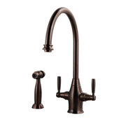 Charleston Traditional Two Handle Kitchen Faucet with Sidespray in Oil Rubbed Bronze, Faucet Height: 14-9/16'' H, Spout Reach: 9'' D, Spout Height: 9-3/8'' H