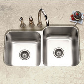 Elite Series 60/40 Undermount Double Bowl Sink, w/ Strainers, Large Bowl Right