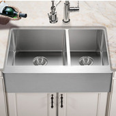 Epicure Series Apron Front 60/40 Double Bowl Kitchen Sink in Brushed Satin Stainless Steel, 33''W x 20'' D, 10'' Bowl Depth
