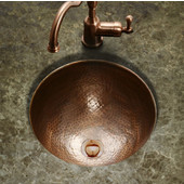 Hammerwerks August Large Round Flat Lip Sink w/ Overflow, 17'' Dia x 6''H, Antique Copper