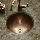 Hammerwerks Classic Round Flat Lip Sink w/ Overflow, 15'' Dia x 6''H, Antique Copper