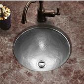 Hammerwerks Classic Round Flat Lip Sink w/ Overflow, 15'' Dia x 6''H, Lustrous Pewter