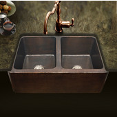 Hammerwerks Copper Kitchen Double Bowl Sink