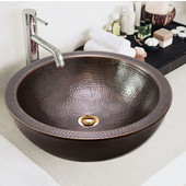 Hammerwerks Series Round Double Wall Vessel Bathroom Sink in Antique Copper, 16-1/2'' Diameter x 5'' Bowl Depth, 6-3/4'' H