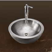 Hammerwerks Series Round Double Wall Vessel Bathroom Sink in Lustrous Pewter, 16-1/2'' Diameter x 5'' Bowl Depth, 6-3/4'' H