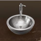 Hammerwerks Series Round Double Wall Vessel Bathroom Sink in Lustrous Pewter, 16-1/2'' Diameter x 5'' Bowl Depth, 6-3/4'' H