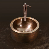 Hammerwerks Series Round Vessel Bathroom Sink with Apron in Antique Copper, 15'' Diameter x 5-1/4'' Bowl Depth, 6-1/4'' H