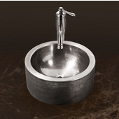 Hammerwerks Series Round Vessel Bathroom Sink with Apron in Lustrous Pewter, 15'' Diameter x 5-1/4'' Bowl Depth, 6-1/4'' H