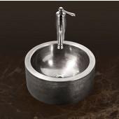 Hammerwerks Series Round Vessel Bathroom Sink with Apron in Lustrous Pewter, 15'' Diameter x 5-1/4'' Bowl Depth, 6-1/4'' H
