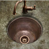 Hammerwerks Series Round Bar/Prep Kitchen Sink in Antique Copper, 16'' Diameter x 8'' Bowl Depth