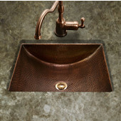 Hammerwerks Series Concave Undermount Lavatory Bathroom Sink in Antique Copper, 20-1/2'' W x 17'' D, 6'' Bowl Depth