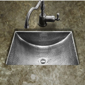 Hammerwerks Series Concave Undermount Lavatory Bathroom Sink in Lustrous Pewter, 20-1/2'' W x 17'' D, 6'' Bowl Depth