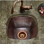 Hammerwerks Series Large Square Bar/Prep Kitchen Sink in Antique Copper, 15''W x 15'' D, 7-1/2'' Bowl Depth