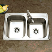 Glowtone Series 20 Gauge Stainless Steel Topmount 60/40 Double Bowl, 33''W x 22''D x 8'' H, with 1 Faucet Hole, Satin Finish