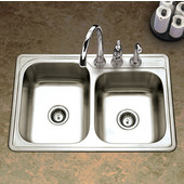 Glowtone Series 20 Gauge Stainless Steel Topmount 60/40 Double Bowl, 33''W x 22''D x 8'' H, with 3 Faucet Holes, Satin Finish