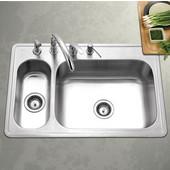 Legend Series 80/20 Topmount Double Bowl Sink, Stainless Steel, 33'' W x 22'' D x 8'' H