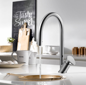 Oni Pull Down Kitchen Faucet with Concealed Hand Spray in Polished Chrome, Faucet Height: 15-3/16'' H, Spout Reach: 8-11/16'' D, Spout Height: 8-3/8'' H