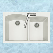 Quartztone Granite Series Topmount 60/40 Double Bowl Kitchen Sink in Cloud Color, 33''W x 22'' D, 9-1/2'' Bowl Depth