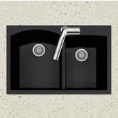 Quartztone Granite Series Topmount 60/40 Double Bowl Kitchen Sink in Midnite Color, 33''W x 22'' D, 9-1/2'' Bowl Depth