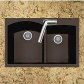 Quartztone Granite Series Topmount 60/40 Double Bowl Kitchen Sink in Mocha Color, 33''W x 22'' D, 9-1/2'' Bowl Depth