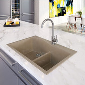 Quartztone Granite Series Topmount 60/40 Double Bowl Kitchen Sink in Taupe Color, 33''W x 22'' D, 9-1/2'' Bowl Depth