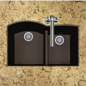Quartztone Granite Series Undermount 60/40 Double Bowl Kitchen Sink in Mocha Color, 33''W x 20-6/8'' D, 9-1/2'' Bowl Depth