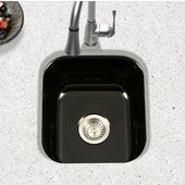 Porcela Collection Porcelain Enamel Steel Undermount Square Bar Sink in Black Color, 15-5/8''W x 17-5/16''D, 8'' Bowl Depth