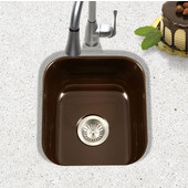 Porcela Collection Porcelain Enamel Steel Undermount Square Bar Sink in Espresso Color, 15-5/8''W x 17-5/16'' D, 8'' Bowl Depth