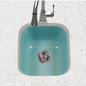 Porcela Collection Porcelain Enamel Steel Undermount Square Bar Sink in Mint Color, 15-5/8''W x 17-5/16'' D, 8'' Bowl Depth