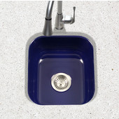 Porcela Collection Porcelain Enamel Steel Undermount Square Bar Sink in Navy Blue Color, 15-5/8''W x 17-5/16'' D, 8'' Bowl Depth