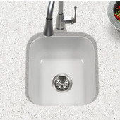 Porcela Collection Porcelain Enamel Steel Undermount Square Bar Sink in White Color, 15-5/8''W x 17-5/16'' D, 8'' Bowl Depth