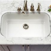 Porcela Collection Porcelain Enamel Steel Gourmet Undermount Single Bowl in White Color, 30-7/8''W x 17-5/16'' D, 9'' Bowl Depth