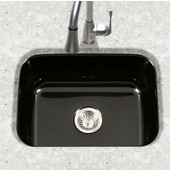 Porcela Collection Porcelain Enamel Steel Undermount Single Bowl in Black Color, 22-3/4''W x 17-3/8'' D, 9'' Bowl Depth