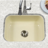 Porcela Collection Porcelain Enamel Steel Undermount Single Bowl in Biscuit Color, 22-3/4''W x 17-3/8'' D, 9'' Bowl Depth