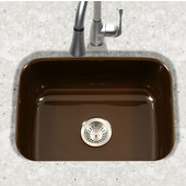 Porcela Collection Porcelain Enamel Steel Undermount Single Bowl in Espresso Color, 22-3/4''W x 17-3/8'' D, 9'' Bowl Depth