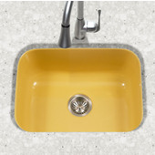 Porcela Collection Porcelain Enamel Steel Undermount Single Bowl in Lemon Color, 22-3/4''W x 17-3/8'' D, 9'' Bowl Depth