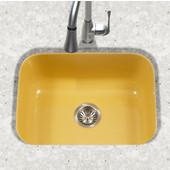 Porcela Collection Porcelain Enamel Steel Undermount Single Bowl in Lemon Color, 22-3/4''W x 17-3/8'' D, 9'' Bowl Depth