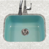 Porcela Collection Porcelain Enamel Steel Undermount Single Bowl in Mint Color, 22-3/4''W x 17-3/8'' D, 9'' Bowl Depth