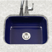 Porcela Collection Porcelain Enamel Steel Undermount Single Bowl in Navy Blue Color, 22-3/4''W x 17-3/8'' D, 9'' Bowl Depth