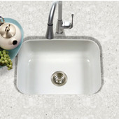 Porcela Collection Porcelain Enamel Steel Undermount Single Bowl in White Color, 22-3/4''W x 17-3/8'' D, 9'' Bowl Depth