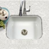 Porcela Collection Porcelain Enamel Steel Undermount Single Bowl in White Color, 22-3/4''W x 17-3/8'' D, 9'' Bowl Depth