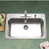 Premiere Gourmet Series 18 Gauge Stainless Steel Topmount Single Bowl w/ Strainer, 33''W x 22''D x 9'' H, with 4 Faucet Holes, Satin Finish
