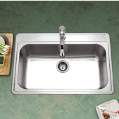 Premiere Gourmet Series 18 Gauge Stainless Steel Topmount Single Bowl w/ Strainer, 33''W x 22''D x 9'' H, with 1 Faucet Hole