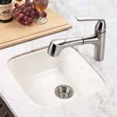 Platus Series Fireclay Undermount Square Bar Sink, Biscuit Finish, 18-7/8''W x 18-7/8''D x 8''H