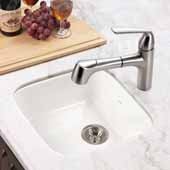 Platus Series Fireclay Undermount Square Bar Sink, White Finish, 18-7/8''W x 18-7/8''D x 8''H