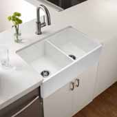 Platus Series Fireclay Apron Front or Undermount Double Bowl Kitchen Sink, White Finish, 33''W x 20''D x 10-1/8''H