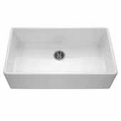 Platus Series Fireclay Apron Front or Undermount Single Bowl Kitchen Sink, White Finish, 36''W x 20''D x 10-1/8''H