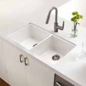 Platus Series Fireclay Apron Front 50/50 Double Bowl Sink, White Finish, 32-3/16''W x 18''D x 8-1/4''H