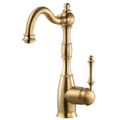 Regal Traditional Kitchen Faucet in Brushed Brass, Faucet Height: 12-5/16'' H, Spout Reach: 7'' D, Spout Height: 8-5/8'' H